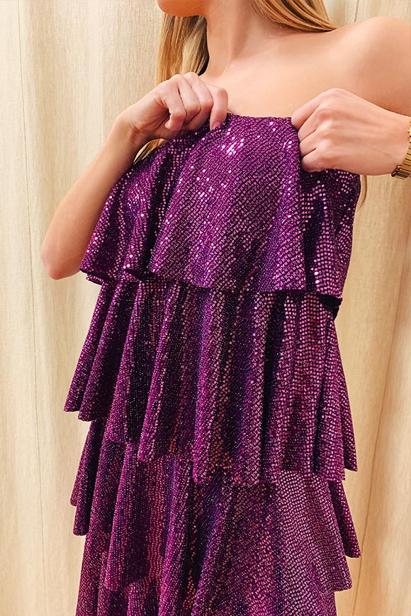 Kontatto - Purple dress with sequined flounces