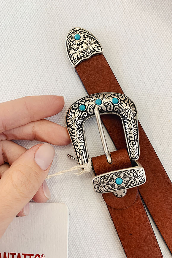 Kontatto - Brown leather belt with beads