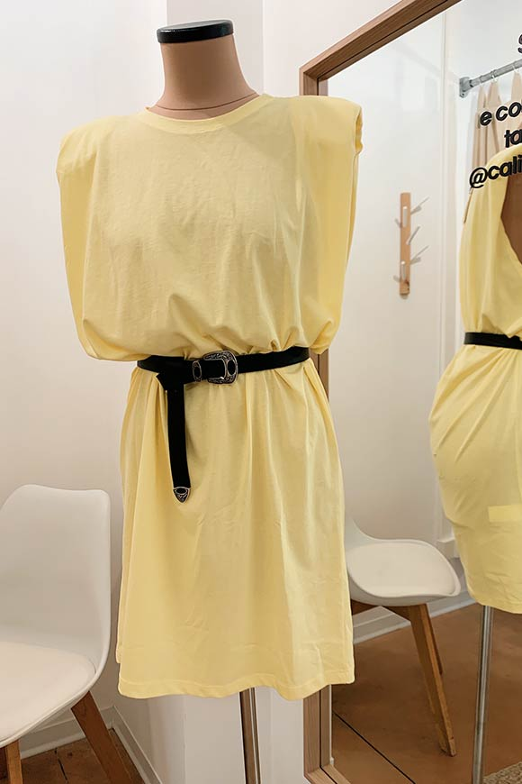 Vicolo - Pastel yellow dress with padded straps and strap