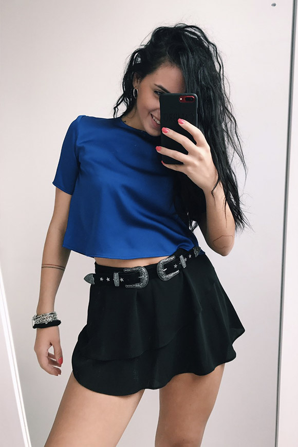 Vicolo - Black shorts skirt with frill