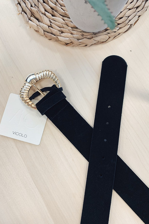 Vicolo - Black split leather belt with gold buckle