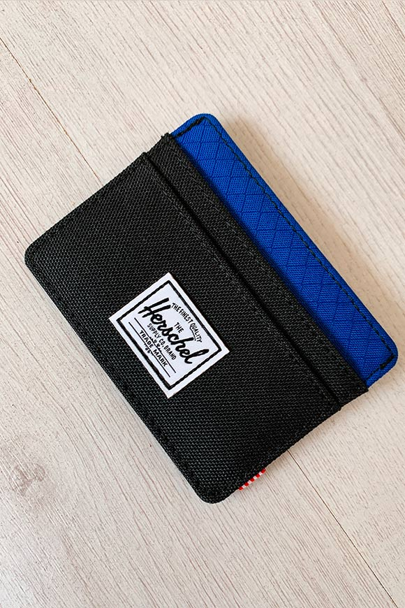 Herschel - Black and blue card holder bag