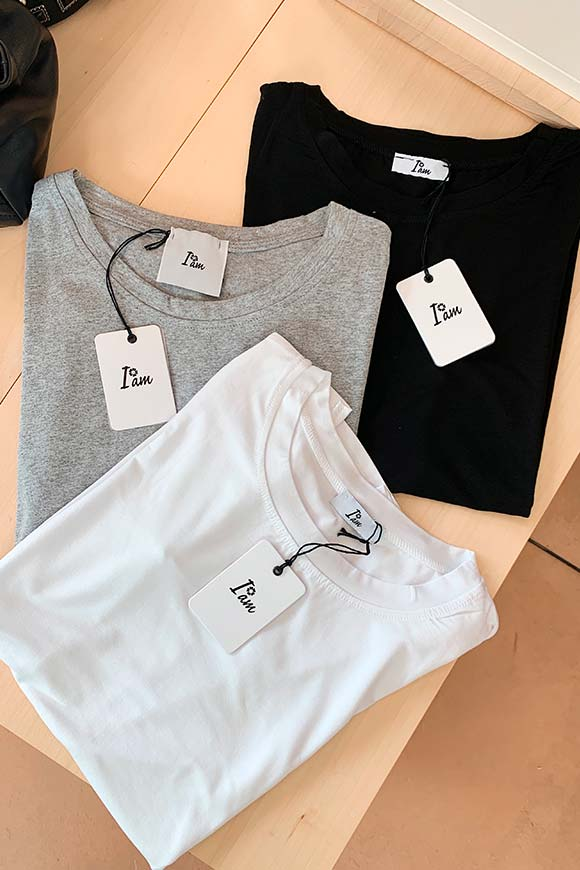 I am - T shirt bianca in cotone basic