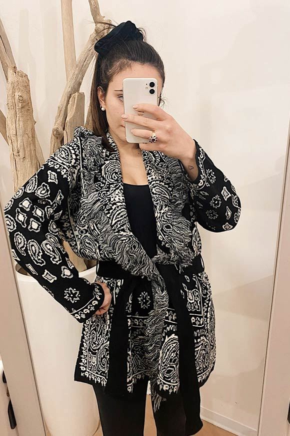 Black and white bandana print poncho