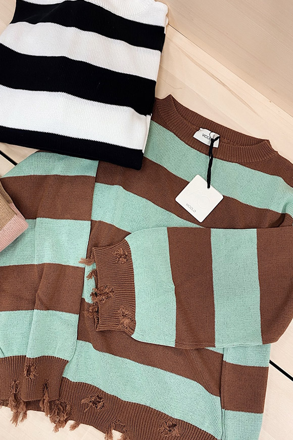Vicolo - Mint green and frayed brown striped sweater
