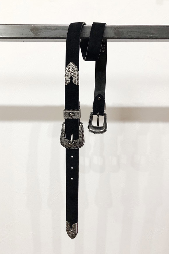 Calibro Shop - Double buckle belt in black velvet