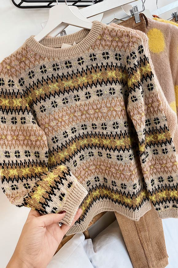 Beige and yellow inlaid sweater
