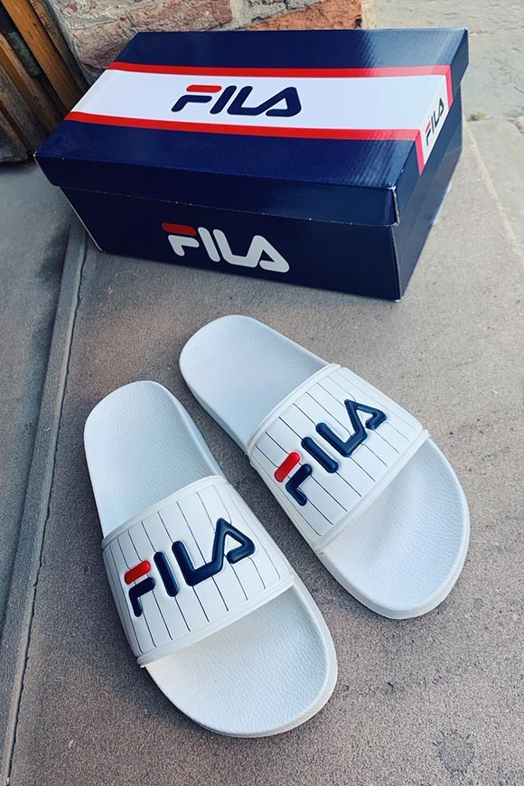 Fila - Striped white stripe slippers with logo