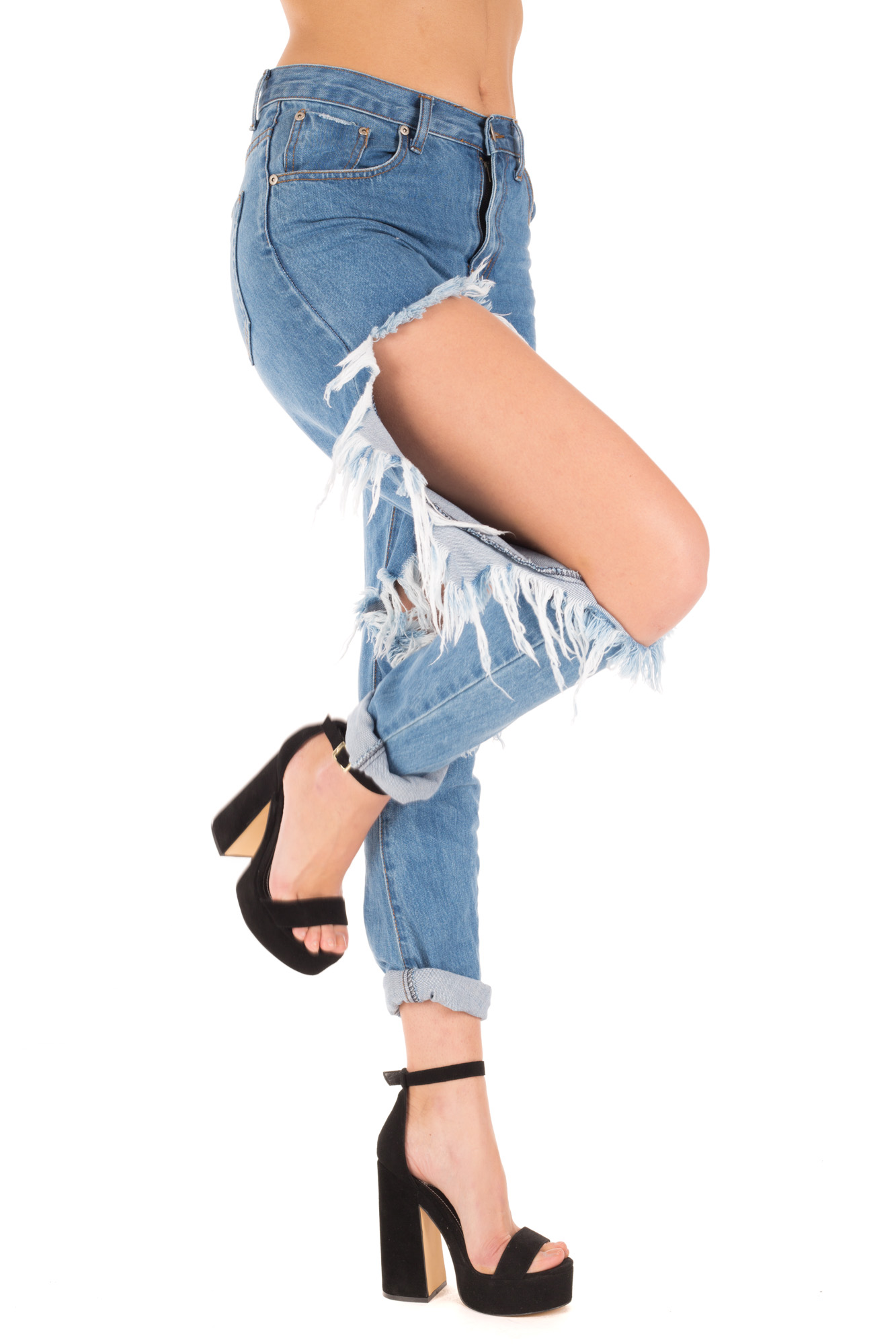 Glamorous - High waist dark jeans with weathered effect