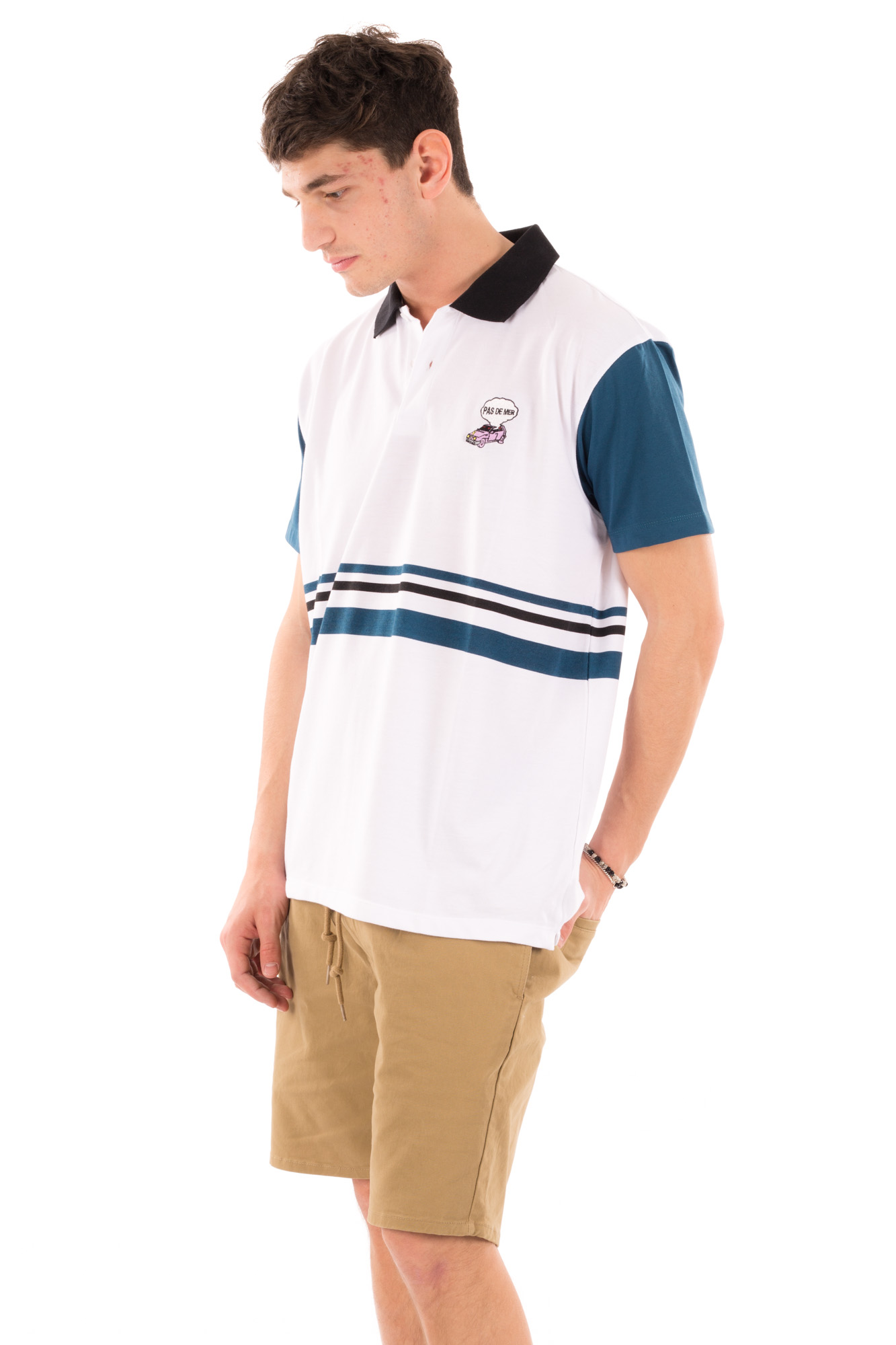 Pas De Mer - Polo t-shirt with contrast sleeves