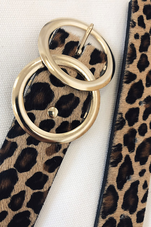 Vicolo - Leopard belt with gold round buckle