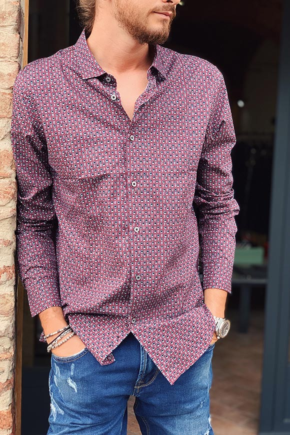 Burgundy micro patterned shirt