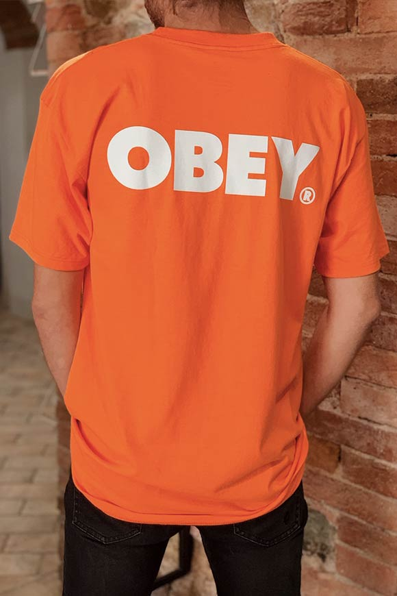 Obey - Orange neon logo t shirt
