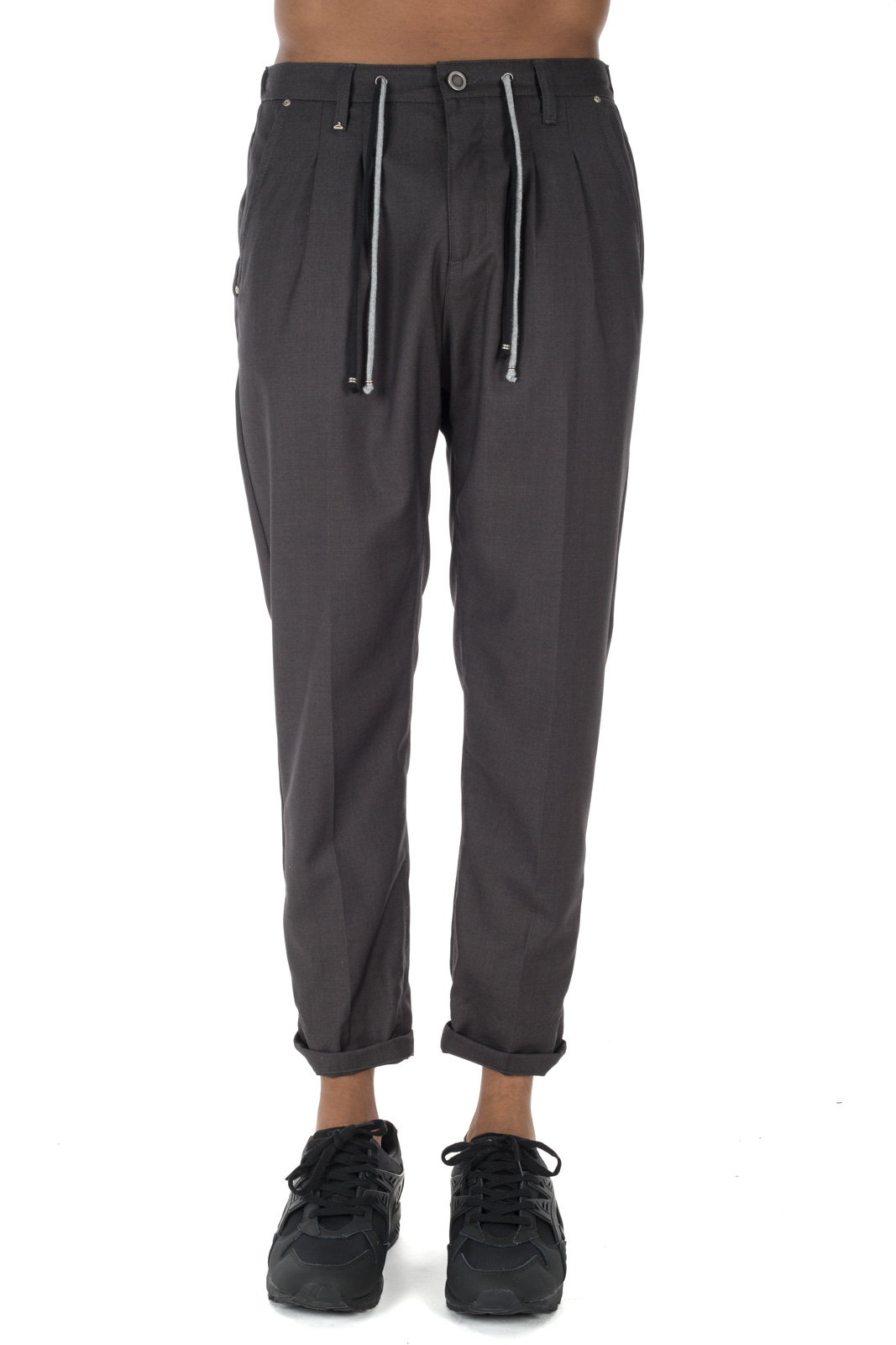 Berna - Gray trousers with contrasting laces