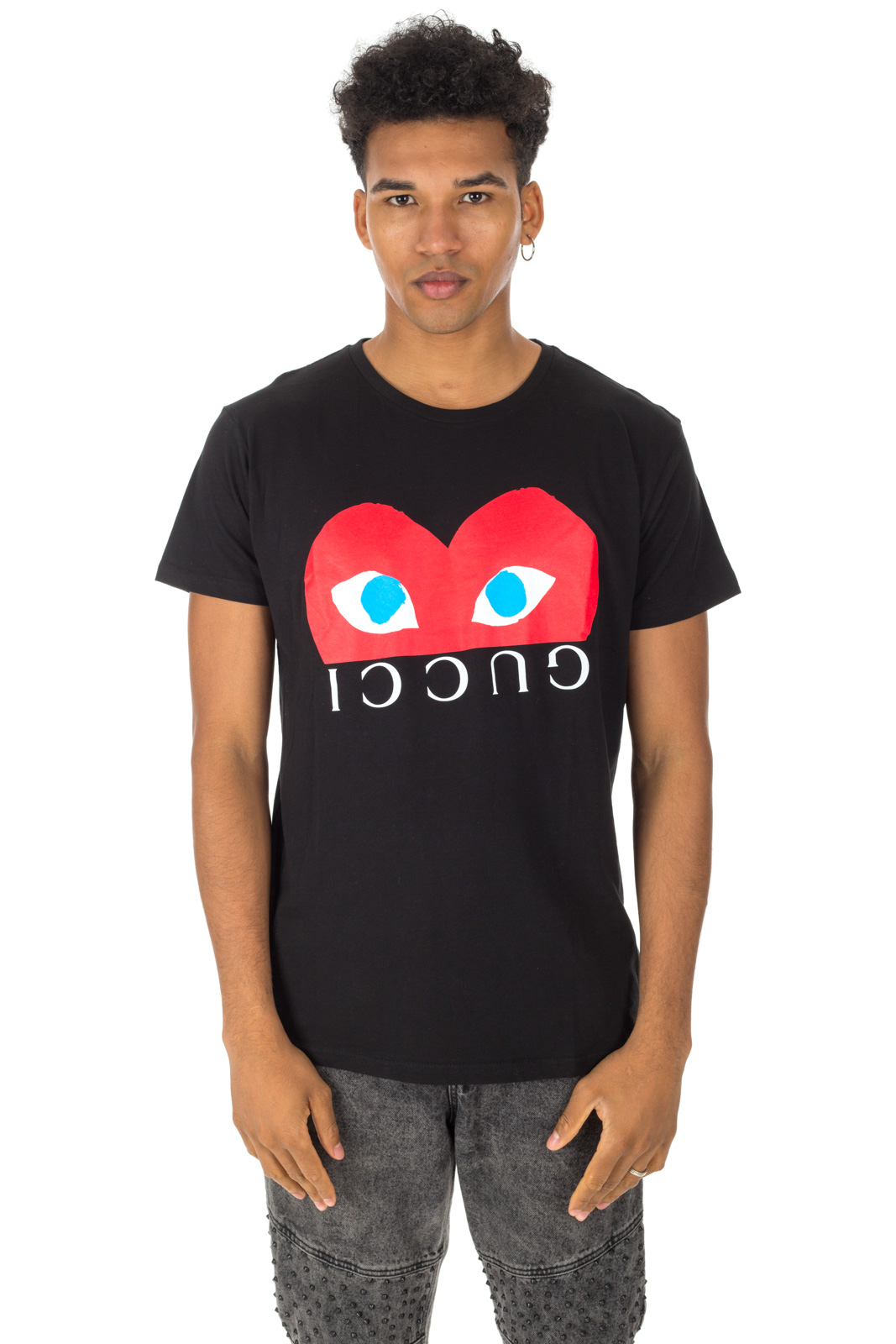 Faking - Gucci T-shirts and Comme Des Garcons Unisex Black