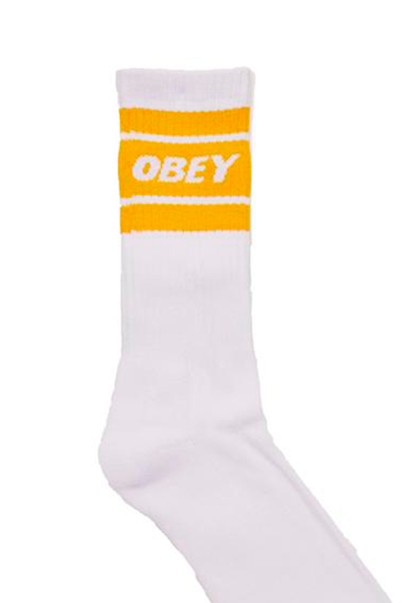 Obey - White socks with yellow band