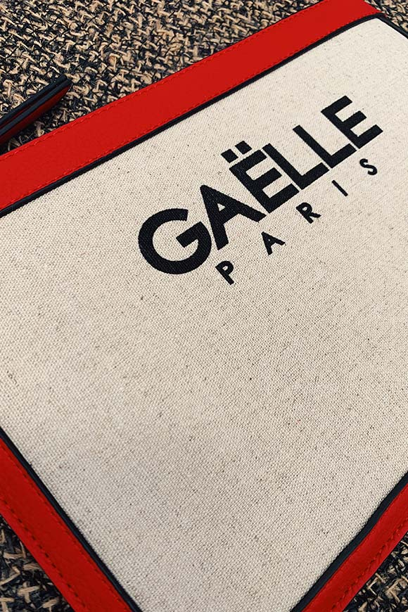 Gaelle - Canvas clutch bag with logo
