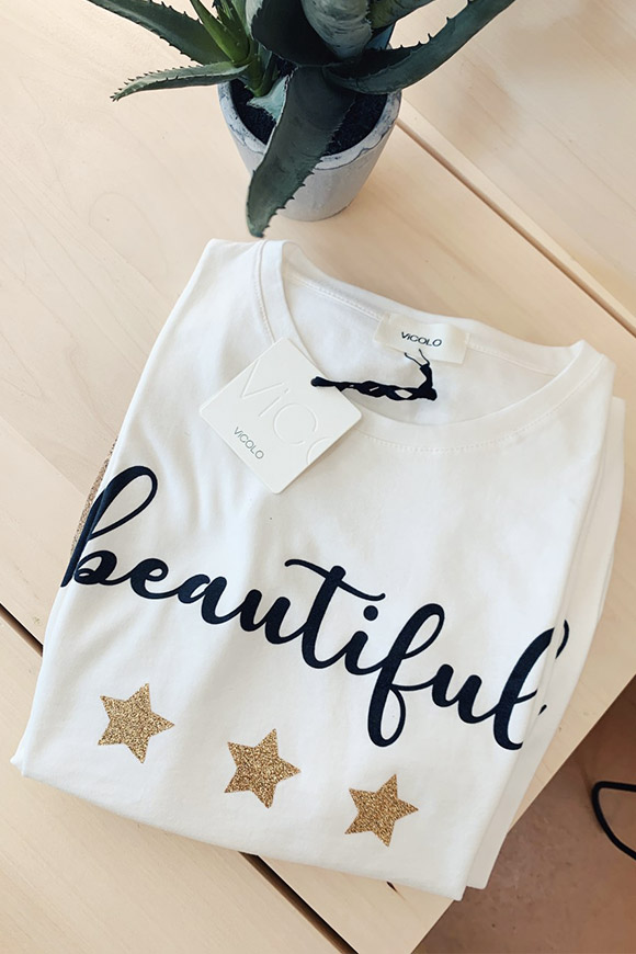Vicolo - Beautiful white t shirt with stars