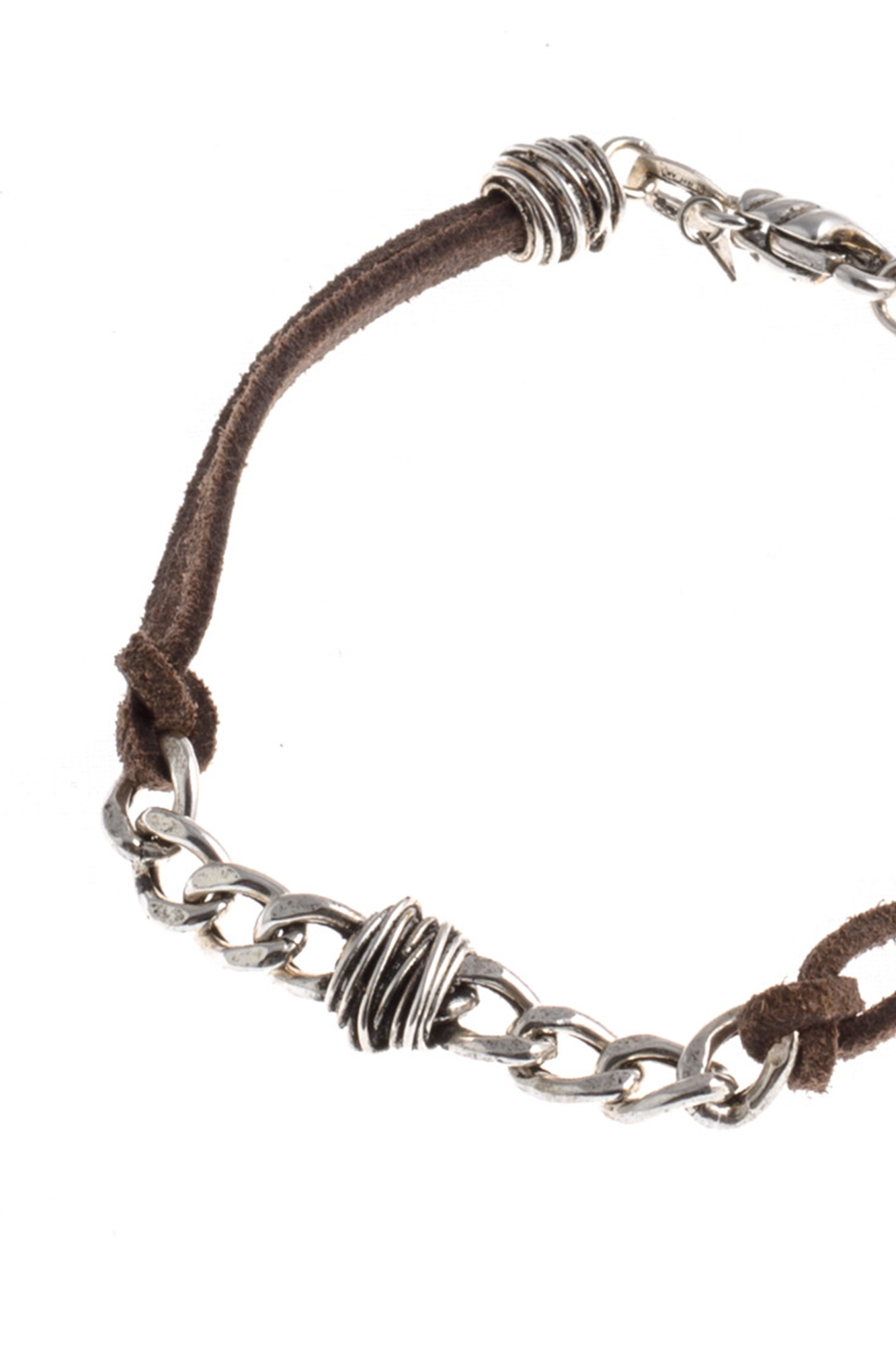 Giacomo Burroni - Silver Bracelet with Leather Strap and Wrapped Wire Chain