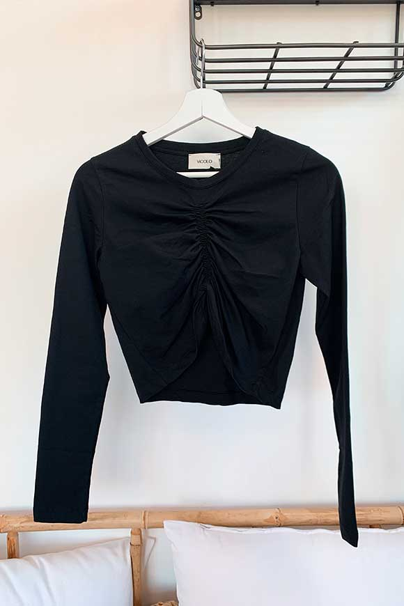 Vicolo - Crop top black congealed long sleeves