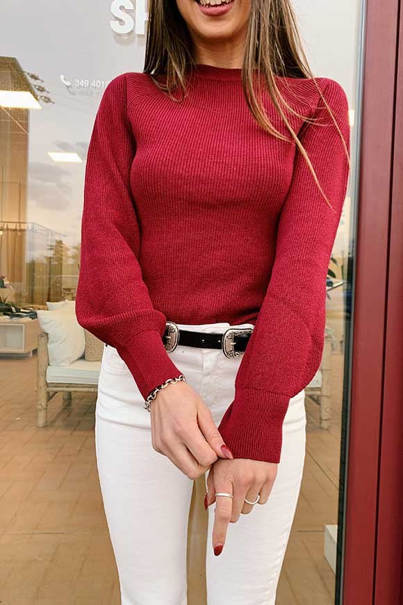 Kontatto - Burgundy sweater with balloon sleeves