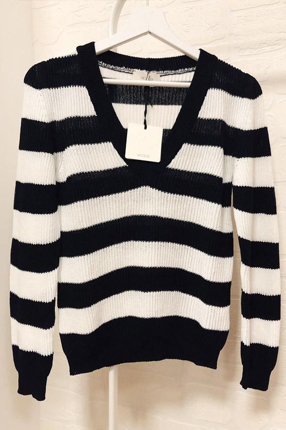vivido e di grande stile colori armoniosi alta qualità Maglione a righe bianco e nero in cotone