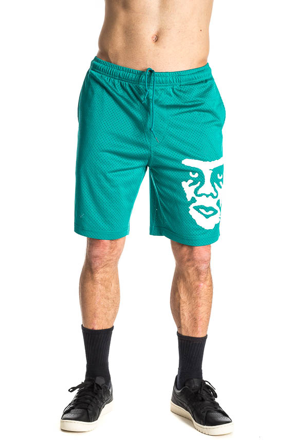 Obey - Basketball net shorts with green water logo