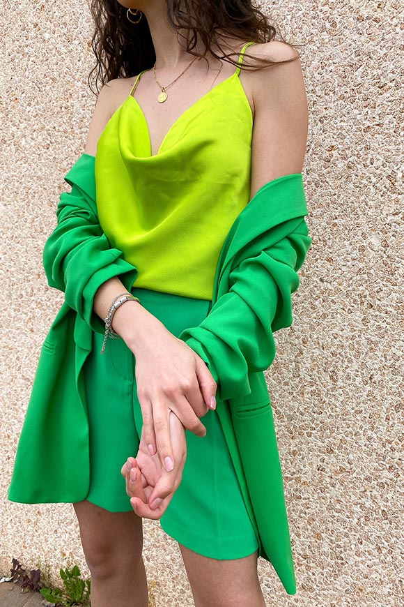 Vicolo - Acid green satin top