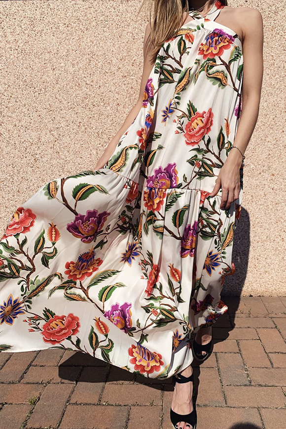 Vicolo - Floral white long dress with flounce