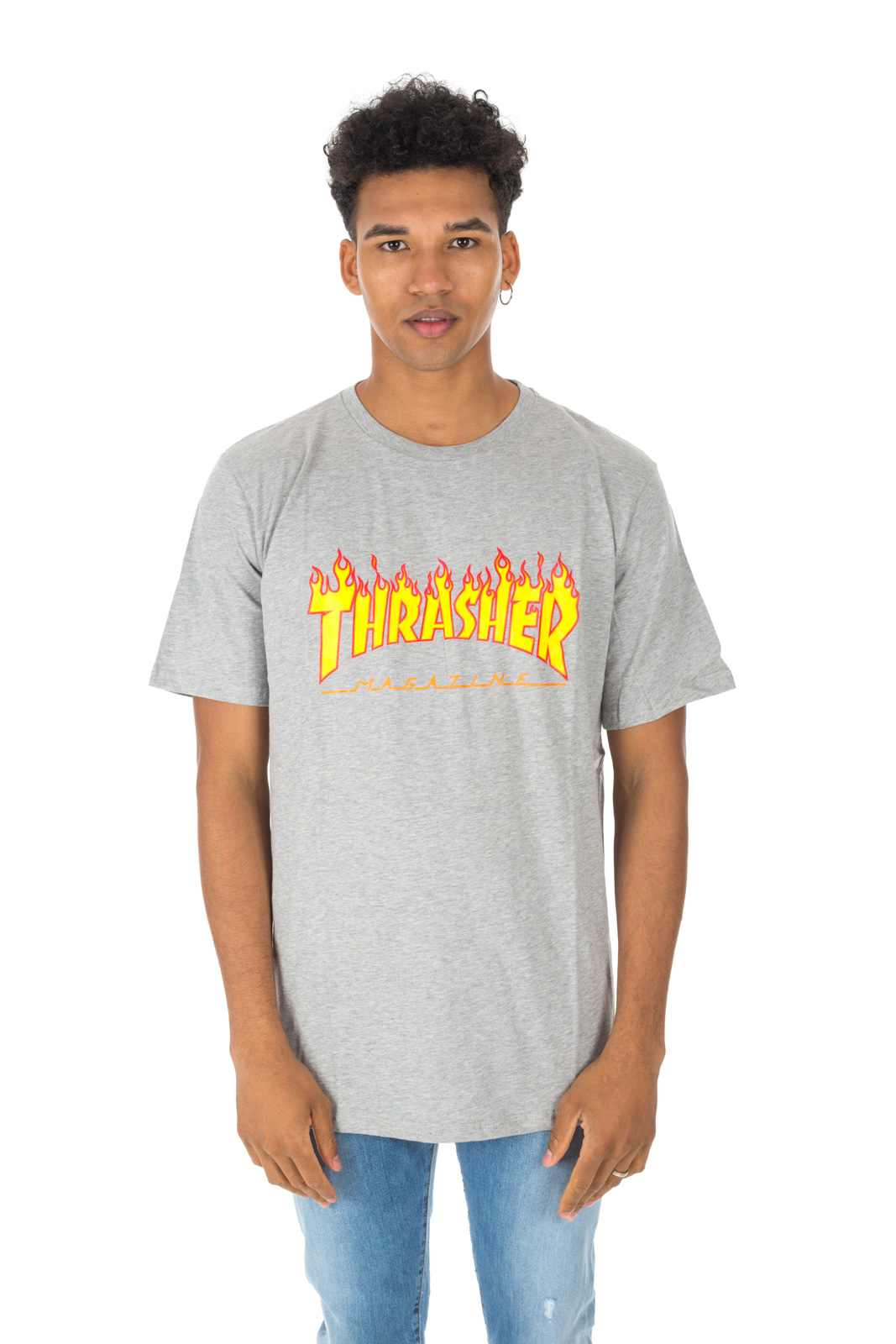 Thrasher - Gray Flames Logo T Shirt