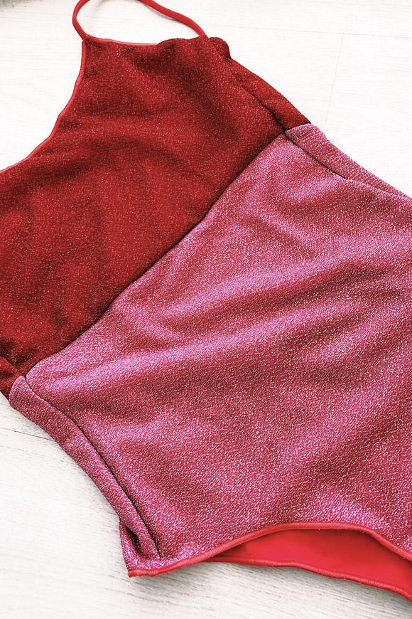 scarpe di separazione 65740 d1c37 Costume lurex rosso/rosa con schiena scoperta