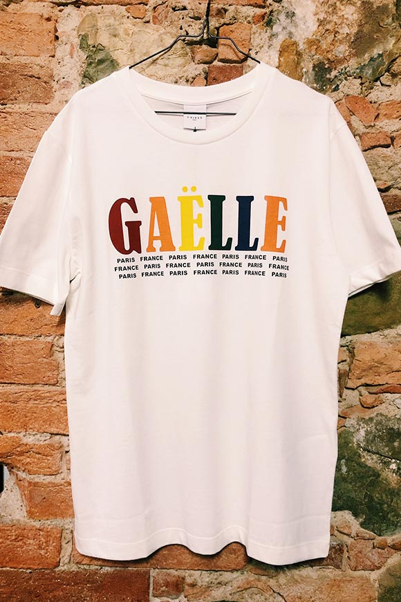Gaelle - White T shirt with multicolored logo