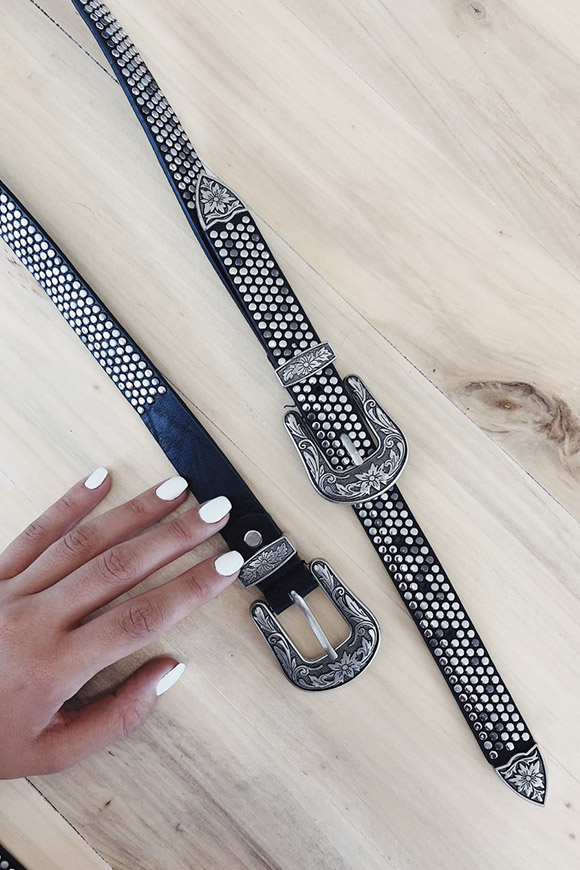 Calibro Shop - Double buckle belt with studs