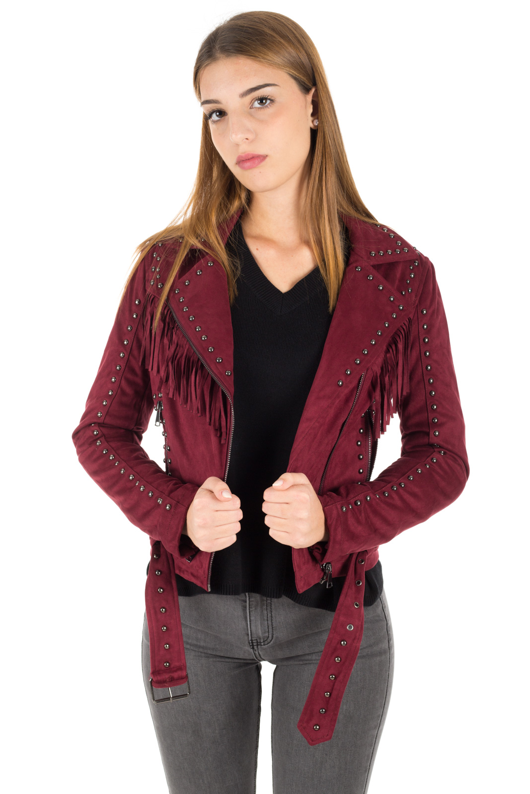 Glamorous - Jacket with fringes and studs