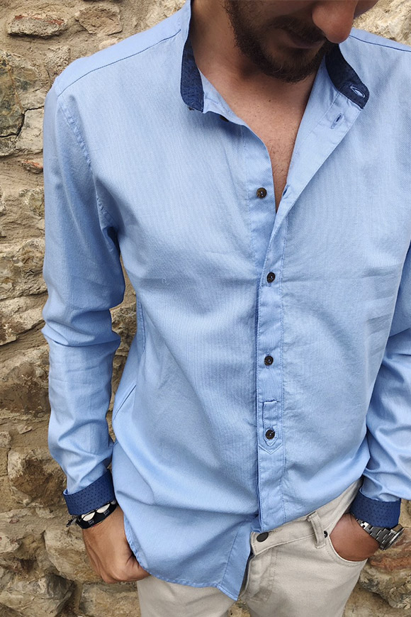 Berna - Korean blue shirt with knot button