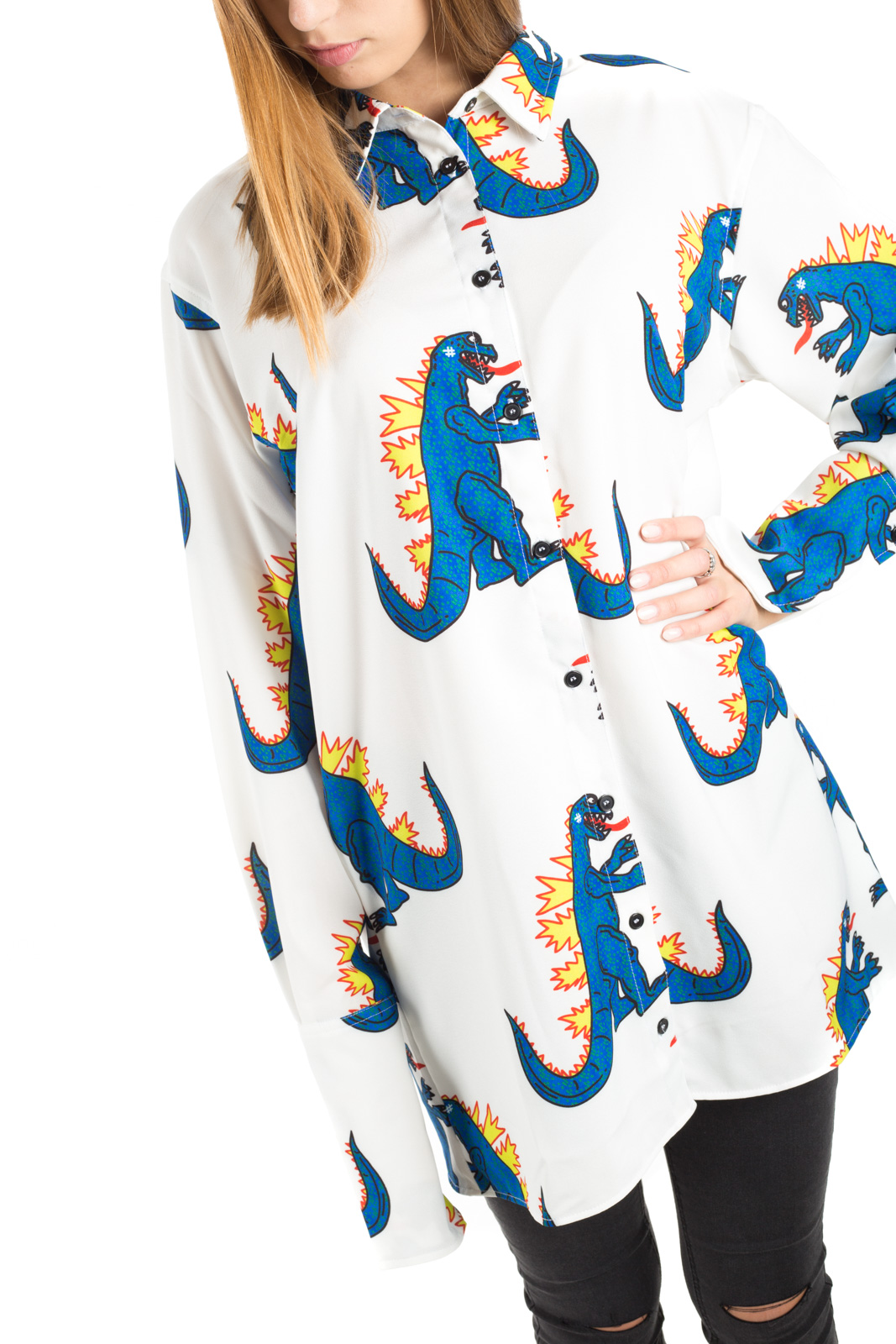 White - Camicia Over Dinosauri