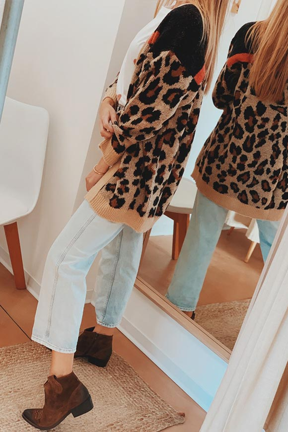 Vicolo - Leopard cardigan with pink details