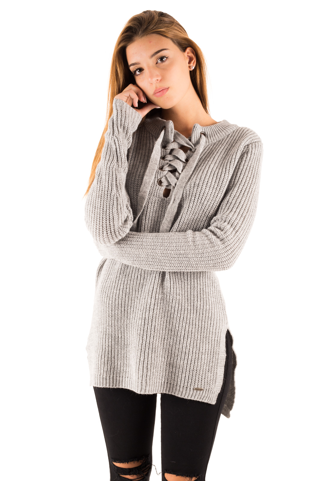 BSB - Sweater with gray plaid