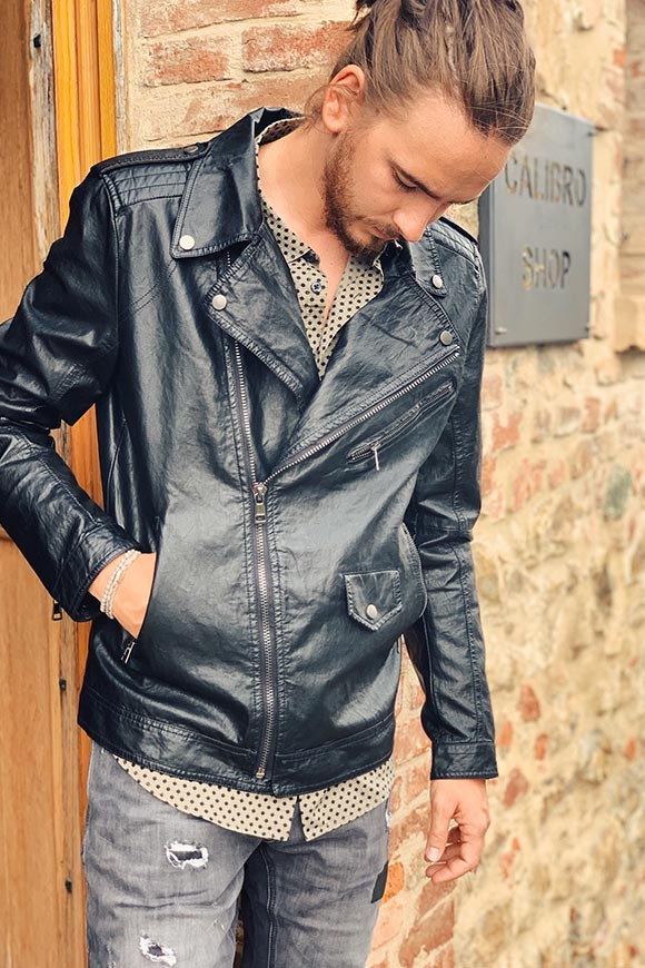 Gianni Lupo - Black eco leather jacket