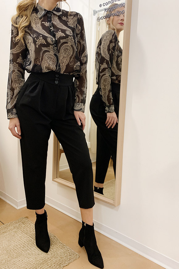 Vicolo - Black high-waisted trousers with pence