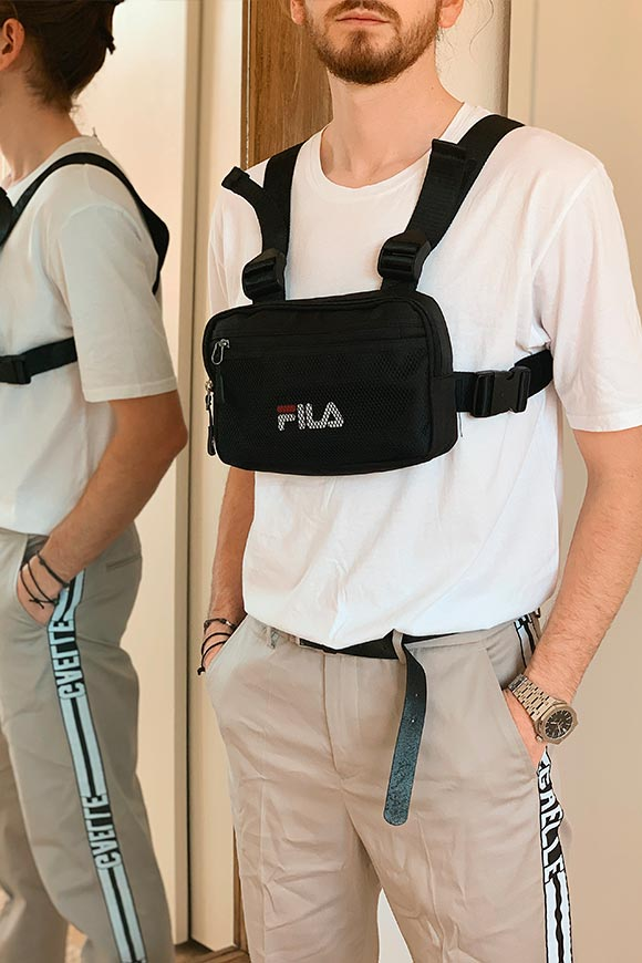 Fila - Black belt bag with braces and logo