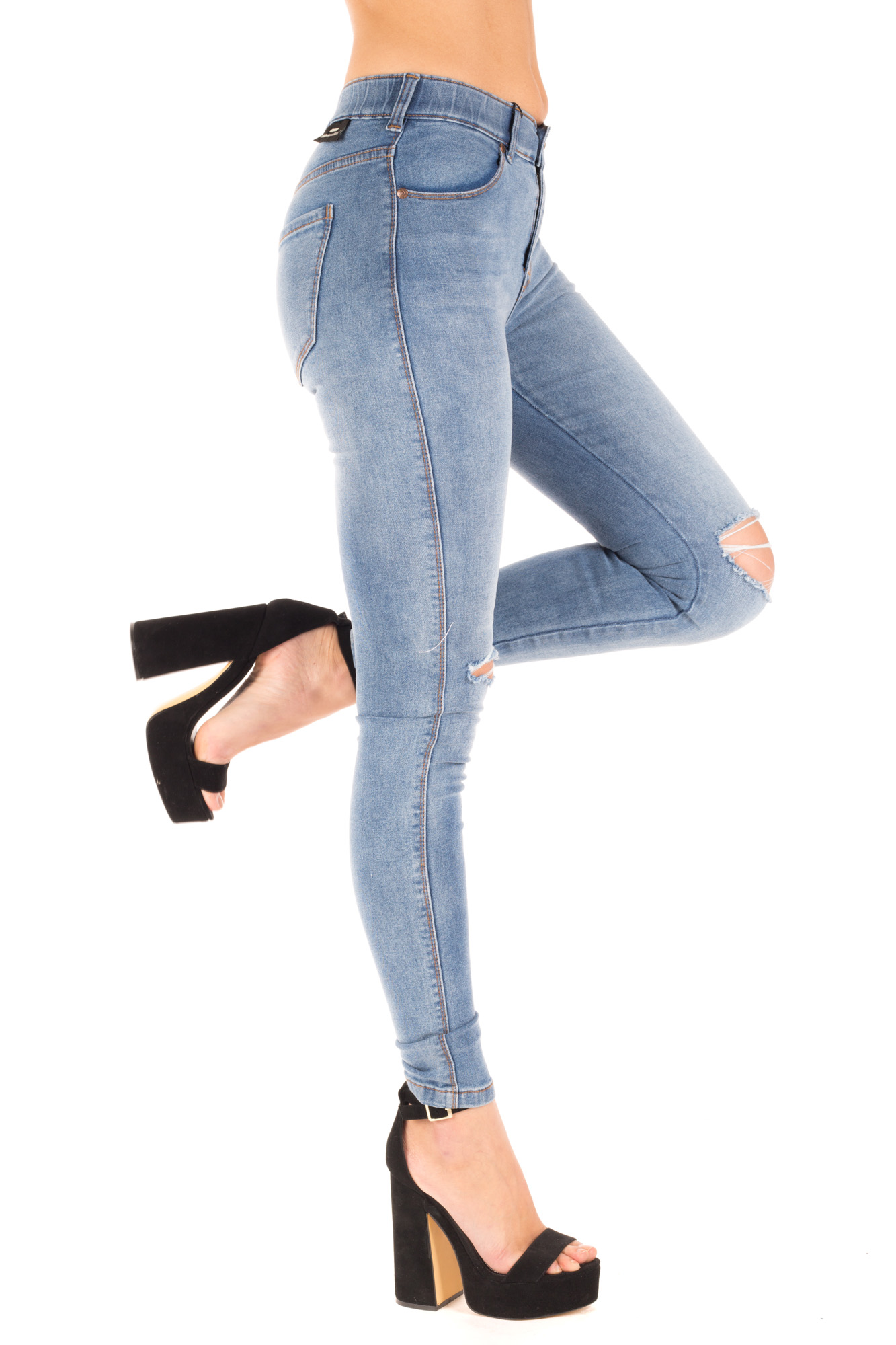 Dr. Denim - Weathered Skinny Jeans with Ripped Knees