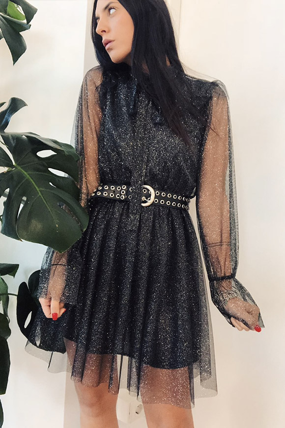 Black lurex dress with puff sleeves