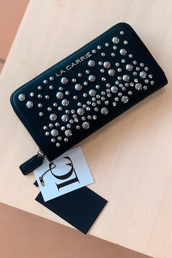 La Carrie - Large black wallet with studs