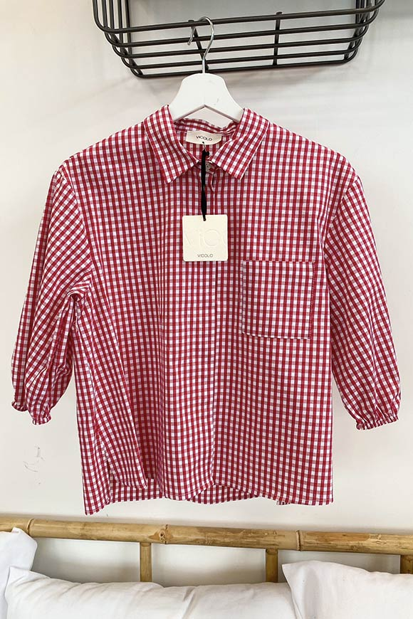Vicolo - Cherry and white vichy shirt with pocket