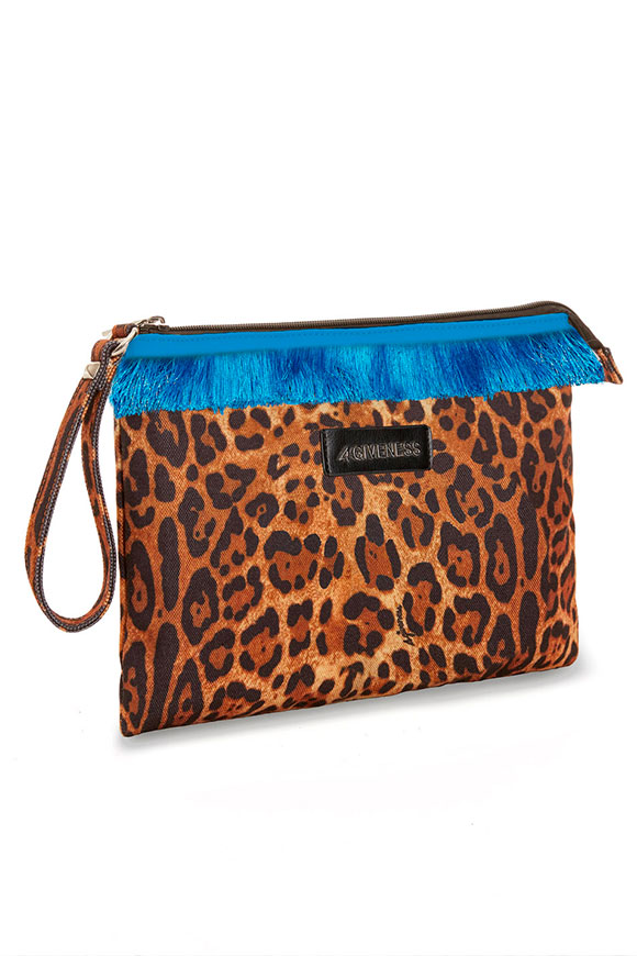 4Giveness - Leopard fringed clutch bag