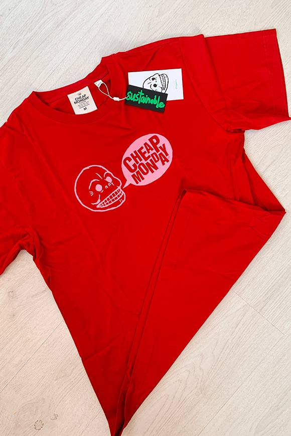 Cheap Monday - T shirt rossa logo rosa