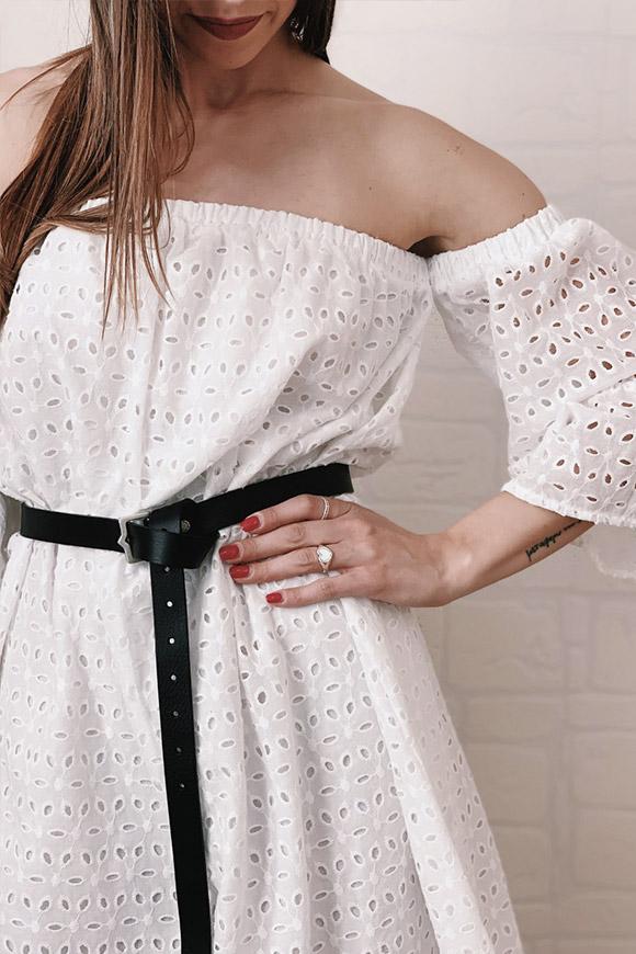 online retailer ba3a4 3b514 Vestito corto bianco in pizzo sangallo