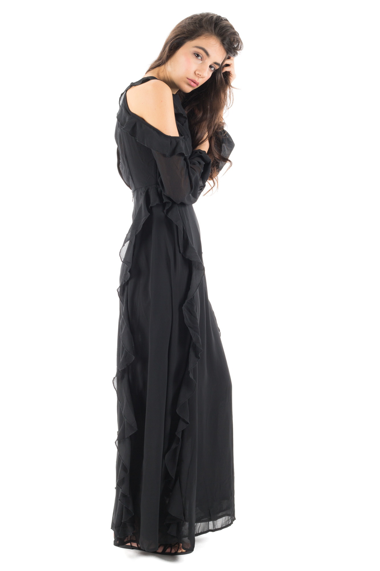 Glamorous - Long dress with trim and back neckline