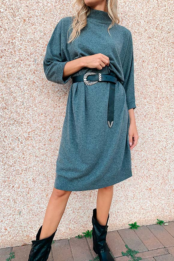 Kontatto - Kimono-style dark gray knit dress